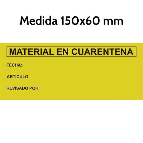 Etiquetas material en cuarentena