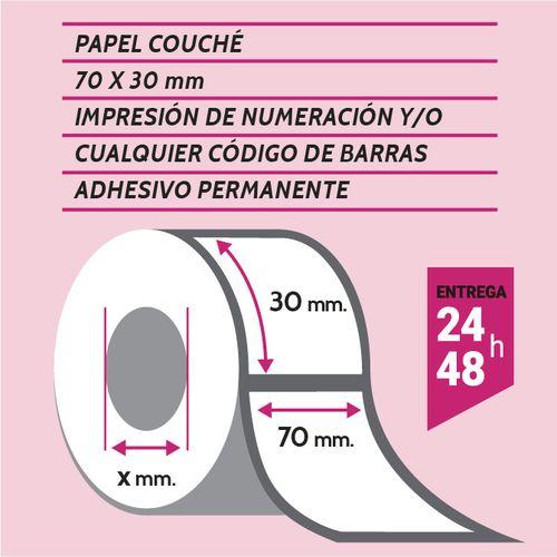 Etiqueta autoadhesiva 70×30 mm papel couché adhesivo permanente con numeración y código de barras